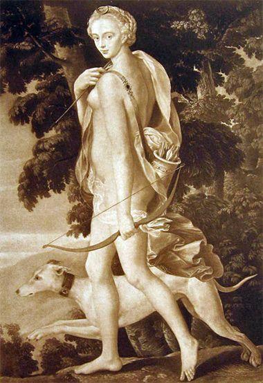Изображение богини Дианы в компании верного пса.
