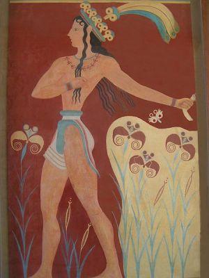Фреска с изображением ирисов в Кносском дворце на острове Крит